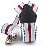 Sencillo Herren Hosenträger Weiß Rot Streifen mit Starken Clips Y-Form
