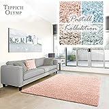Shaggy-Teppich Pastell | Flauschige Hochflor Teppiche fürs Wohnzimmer, Esszimmer, Schlafzimmer oder Kinderzimmer | Einfarbig, Schadstoffgeprüft (Rose - 160 x 230 cm)