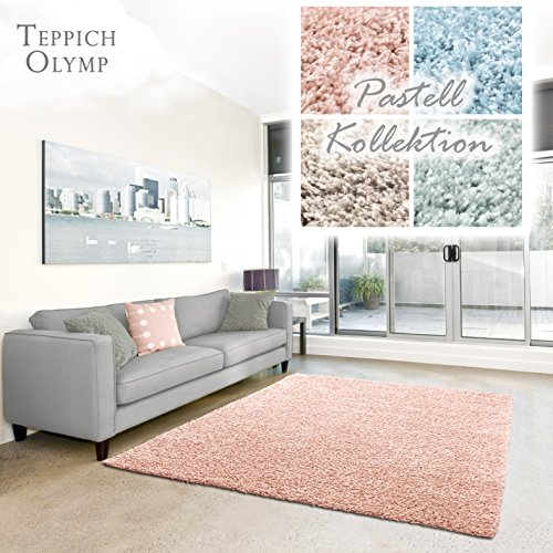 Shaggy-Teppich Pastell | Flauschige Hochflor Teppiche fürs Wohnzimmer, Esszimmer, Schlafzimmer oder Kinderzimmer | Einfarbig, Schadstoffgeprüft (Rose - 140 x 200 cm)
