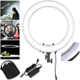 "AW Dimmable 19"" Ring Light 55W 5500K 240PCS LED SMD Adjustable Camera Video Portrait Light W/ Color Filter"