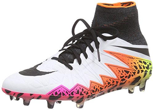 Nike Men's Hypervenom Phantom II (FG) Football Boots, Weiß (White/Black-Total Orange-Volt_108), 9.5