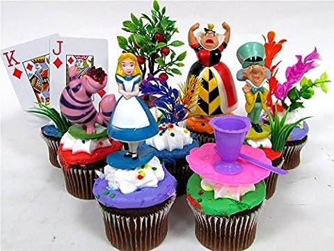 ALICE IN WONDERLAND 12 Piece Birthday CUPCAKE Topper Set Featuring
