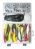 SANDAFishing Hecht Köder Box Gummifisch Set - 11cm 13cm Zander Groß Barsch Raubfisch Kopyto Gummiköder Angel Zubehör Jigkopf Haken Kunstköder Twister Profi Angelset Angler (Hechtbox+Werkzeug)