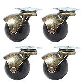 5,1cm Lenkrolle Räder 360° drehbar Ball bietet Rad Top Platte mit Kapuze Möbel Caster kg Kapazität, 4Stück, Ball Caster, 1