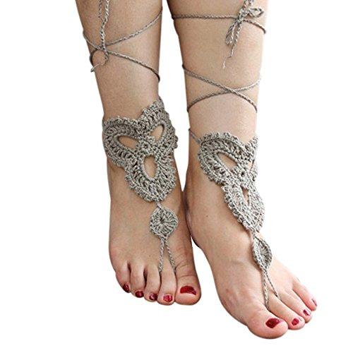 Vococal - 1 par Zapatos Tobillera Pulsera de Crochet Sandalias Pies Descalzos para Novia Dama de Honor Boda Baile Señora de Mujer / Accesorio de Playa Verano (Caqui)