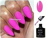 BLUESKY Neon 21Blütenblatt Bubblegum Pink Mauve Nagellack-Gel UV-LED-Soak Off 10ml plus 2LuvliNail Shine Tücher