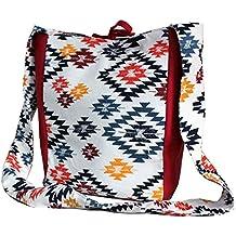 Dekor World Cotton Chevron Aqua Printed Jhola Bag (Pack of 1)
