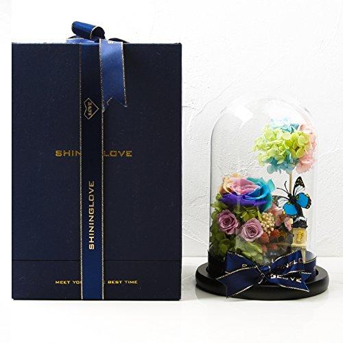 Boîte de cadeau fleur éternelle,Roses Fleurs artificielles Fleurs Verre Valentin Le jour de noël Décorations de mariage-B