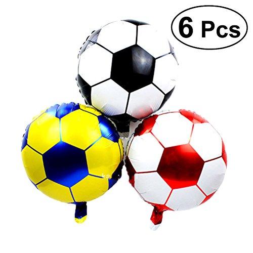 YeahiBaby Globo de la Hoja del Fútbol 6pcs Decoración metálica de los Globos de Mylar del Helio DE 18 Pulgadas para la Fiesta de Cumpleaños