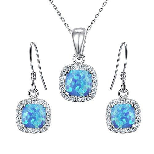 Flyonce 925 Sterling Silver Zircon Blue Opal Gemstone Cushion Cut Halo Necklace Hook Earrings Set