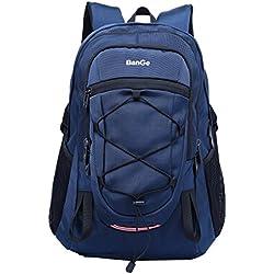 Zeewoo 40L Sac Randonnée Sac à Dos Trekking Imperméable Grande Capacité Sport Plein Air Camping Voyage Sac Decole College Daypack pour Homme Femme, Noir/Bleu