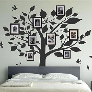 amazing sticker Wandaufkleber, Motiv Stammbaum und Vogel, dunkelrosa, Large
