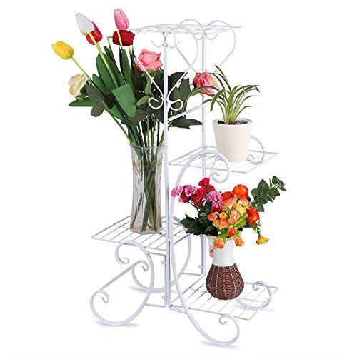 Cocoarm scaffale porta piante 4 ripiani ferro portafiori da esterno per giardino, patio, balcone, cortile, ufficio, 84 x 48 x 25cm (bianco)