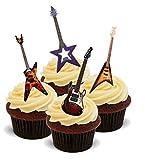 Nouveau Décoration Anniversaire Guitares électriques Rock - 12 décorations alimentaires en papier gaufré Gateau Cupcakes - 2 x feuilles A5 - 12 images