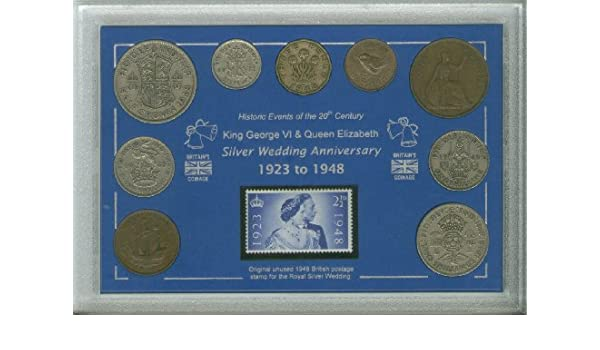 6 King George VI The Royal Silver Wedding Coin & Stamp Present ...