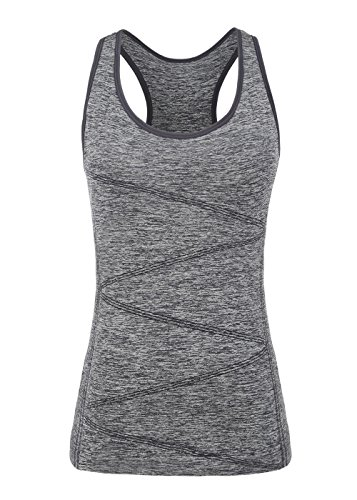 Damen Sport Tanktop,Disbest Sport Unterhemd Fitness Running Tops pro ärmellos Quick Dry Training T-Shirt mit abnehmbaren BH (XL/UK 14/EURO 42, Grau)