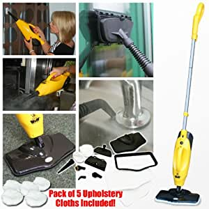 Wolf 1200W 5 in 1 Super Heated Steam Cleaner Floor Cleaning Upright and Handheld Upholstery with Accessories PLUS BUY NOW AND GET A PACK OF 5 UPHOLSTERY PADS INCLUDED!!