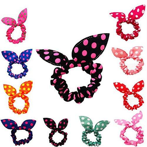Cute Bunny Mädchen Blume Stirnbänder Für Mädchen Kaninchen Ohren Stoff Dot Headwear Elastisches Haarband (Color : Orange) ()