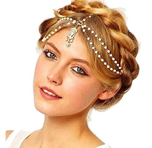 Tonsee Neue Mode Frauen Lady Imitation Perle Quaste Wasser Tropfen Haarband Haar Band Crystal Hair Kette Headchain Geschenk,weiß