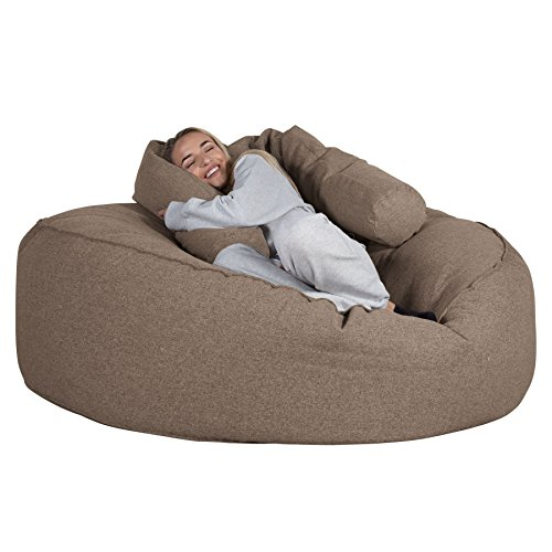 Lounge pug®, pouf sacco gigante xxxl 'mega mammut', tessuto in lana interalli - biscotto