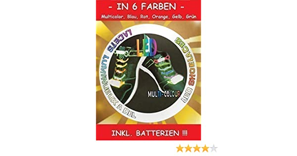 Batterien 80 cm lang 10 Paar HyCell LED-Schnürsenkel verschiedene Farben Inkl