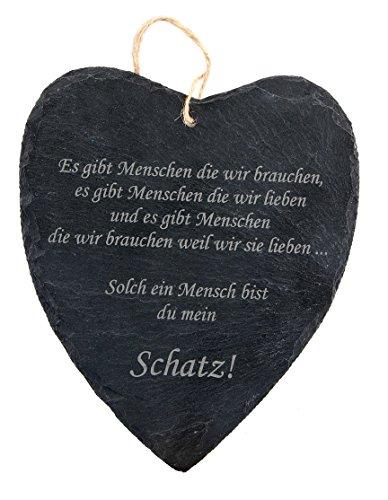 iefer Herz mit Spruch/Gravur für seinen Schatz - Geschenk/Schieferherz für den Liebsten ()