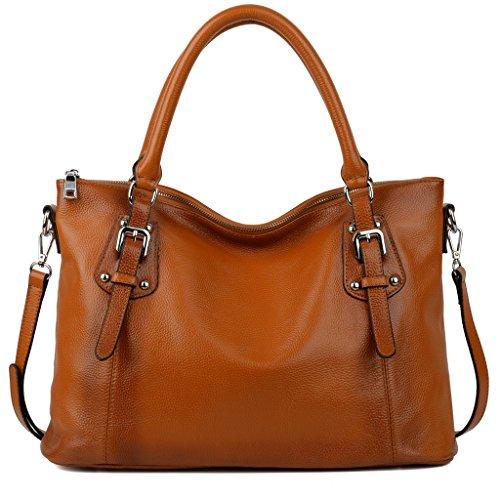 Imagen de yaluxe mujer estilo clasico cuero genuino suave  pequeña saco de mano grande bolsa de hombro naranja
