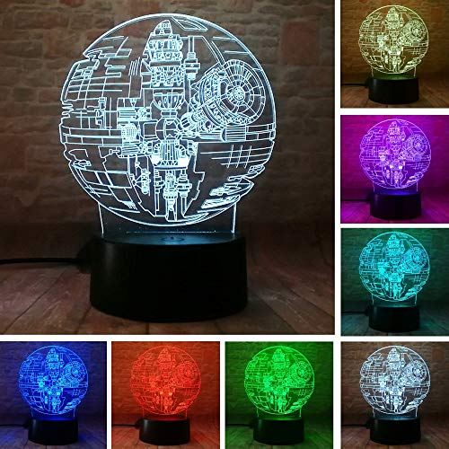 Hot Film Star Wars Legenden Todesstern 3D Led Nachtlicht Rgb 7 Farbe Zimmer Home Decor Fans Kind Freund Weihnachten Neujahr Geschenke With remote control
