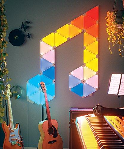 nanoleaf Light Panels (Aurora) Rhythm Starter Kit – 9x Modulare Smarte LED & Sound Modul – Lichtpanels mit App Steuerung - 3