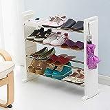 Willsego Mehrschichtiges Schuhregal, kombiniertes Schuhregal aus rostfreiem Stahl für Haushaltsmontage, verstärkter Lagerregal-Wohnheim-Schlafsaal-Schuhschrank (Farbe : Weiß, Größe : -)