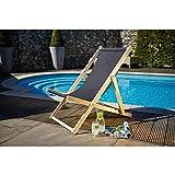Holz Liegestuhl Landwood RELAX mit Lehne und BEACH ohne Lehne (ohne Lehne, Anthrazit)