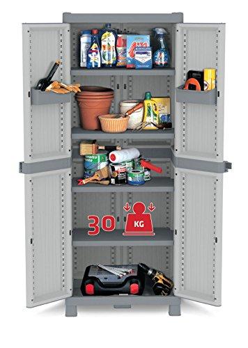 Kreher XL Kunststoffschrank Domino Wave - Universalschrank mit Riegel-Mechanismus und vielen Extras! XL Volumen und topp Qualität für Haushalt und Gewerbe! Maße: 70 x 43,8 x 181,8 cm