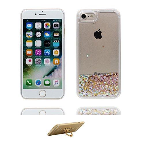 Coque iPhone 7, [Bling Glitter Fluide Liquide Sparkles Sables] iPhone 7 étui Cover (4.7 pouces), iPhone 7 Case anti- chocs et ring Support - plume Noir 9
