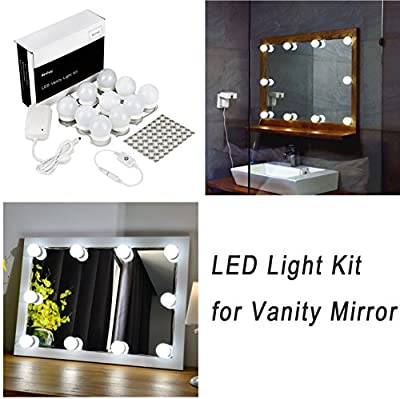 WanEway Hollywood Style LED Vanity Mirror Light Kit for Makeup Cosmetic Dressing Table Mirror with Dimmer and Power Supply, Plug-in Bathroom Mirror Lighting Fixture Wall Lamp, 13.5ft, Mirror Not Included - low-cost UK light store.