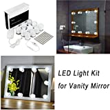 WanEway Hollywood Style LED Vanity Mirror Lights Kit for Makeup Dressing Table Vanity Set Mirrors with Dimmer and Power Supply Plug in Lighting Fixture Strip, 13.5ft, Mirror Not Included