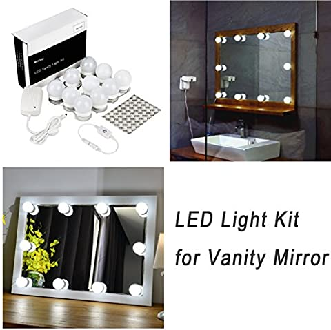 WanEway Hollywood Style LED Vanity Mirror Lights Kit for Makeup Dressing Table Vanity Set Mirrors with Dimmer and Power Supply Plug in Lighting Fixture Strip, 13.5ft, Mirror Not