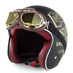 Barock Retro B510 Integralhelm Motorradhelm Matt schwarz S//56