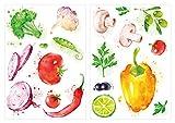 dekodino Sticker mural cuisine aquarelle légumes paprika olives champignons