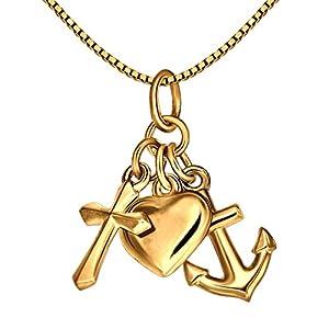 CLEVER SCHMUCK Set Goldener 3-teiliger Anhänger Glaube Liebe Hoffnung glänzend 333 GOLD 8 KARAT und vergoldeter Kette Venezia 45 cm