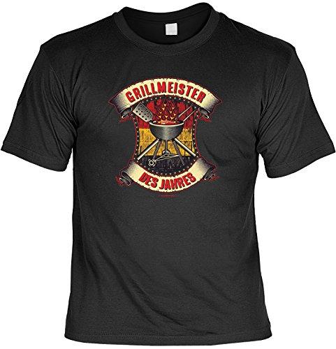 Das Set für alle Grillfreunde! T-Shirt - Grillmeister des Jahres! Mit einem Grill Time Minishirt als Flaschenverpackung Schwarz