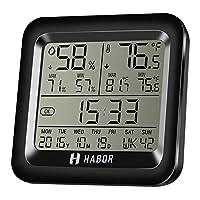 Habor Higrómetro Termómetro Digital, Monitor de Humedad y Temperatura con Pantalla LCD y °F/°C Seleccionable para Casa Interior Habitación