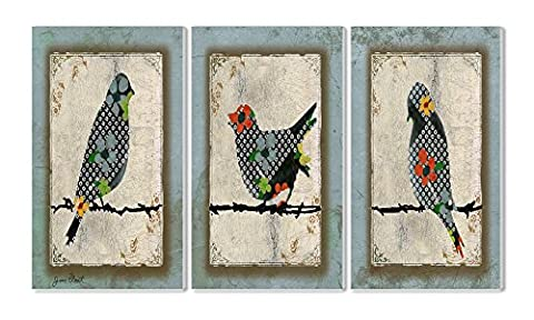 The Stupell Home Decor Collection Song Bird Trio 3-Piece Triptych