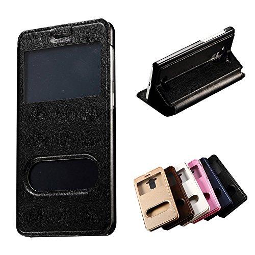 iPhone 6 / 6S (4.7 inch) Coque, SHANGRUN PU Cuir Housse Coque Fenêtre d'ouverture Case Flip Cas de Protection Portable Skin View Window Etui Cover pour iPhone 6 / 6S (4.7 inch) Or Noir