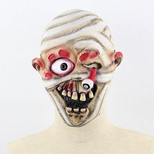 ess Zombie Mumie Feuergesicht Stinkend Halloween Room Escape Spukhaus Prop Scary Latex Zombie Geistermaske A ()
