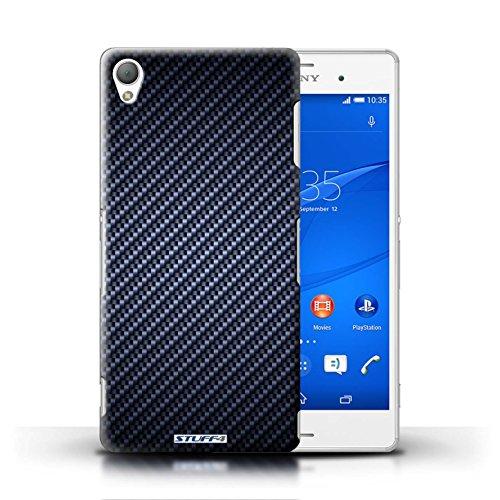 Kobalt® Imprimé Etui / Coque pour Sony Xperia Z3 / Or conception / Série Motif de Fibre de Carbone Bleu