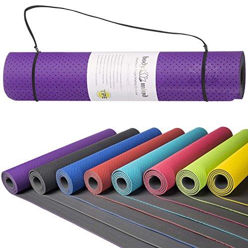 Body & Mind Yogamatte - umweltfreundliche, hypo-allergene Yoga TPE-Matte - extrem rutschfest, weich und schadstoff-frei - 183 x 61 x 0,5cm inkl. Trageschlaufen - Lila