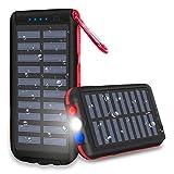 XINSL Powerbank Solar 25000mAh Solar Ladegerät Externer Akku Wasserabweisende tragbares Ladegerät mit 3 Ausgänge LED Taschenlampe & SOS-Warnlampe für Smartphone Tablet für Outdoor Reisen Dienstreise
