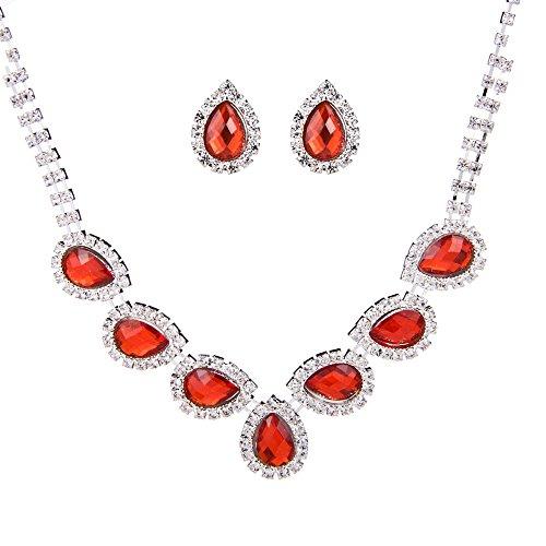 Brovy UK (TM) boda novia rojo Crystal Rhinestone gota collar y pendientes Jewelry Set Rubí Regalo 1D2