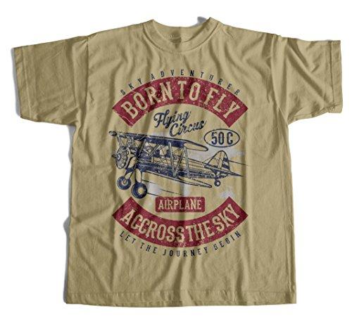 T-Shirt Born to Fly Wei§ Flugzeug Aero Fliegershirt Flieger RC Retro Pilot (Tee Flugzeug T-shirt)