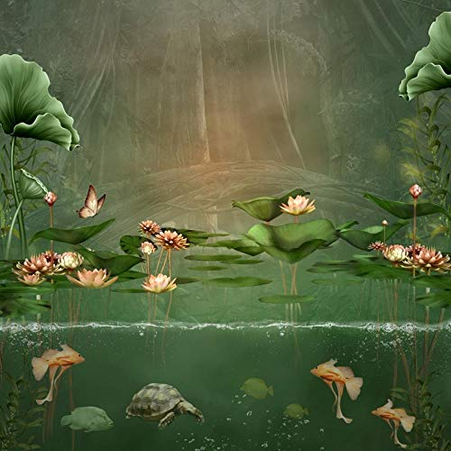 nd,Fluss Lotus Fische Schildkröte Alte Malerei Fotografie Hintergrund Fotohintergründe Für Fotostudio @ Thin_Cloth_60X60Cm ()